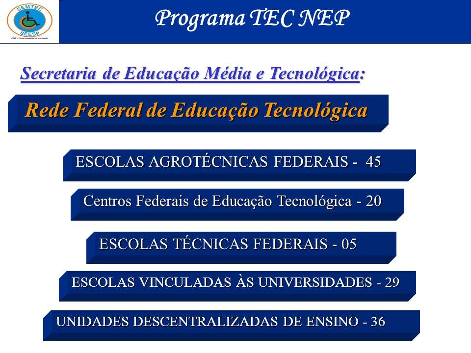 Programa TEC NEP Secretaria de Educação Média e Tecnológica: