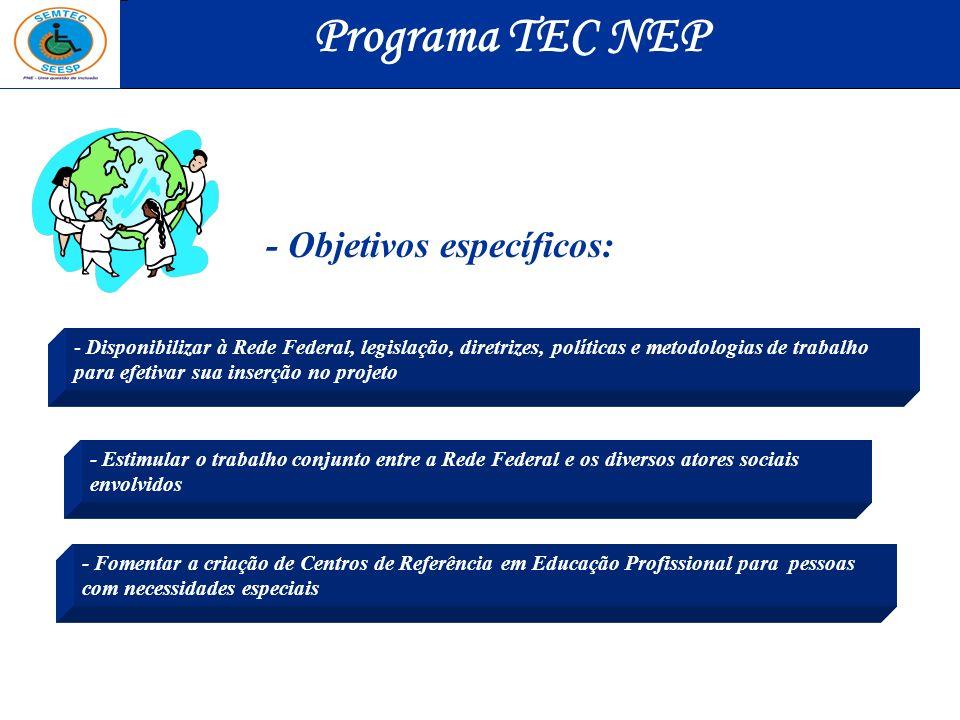 Programa TEC NEP - Objetivos específicos: