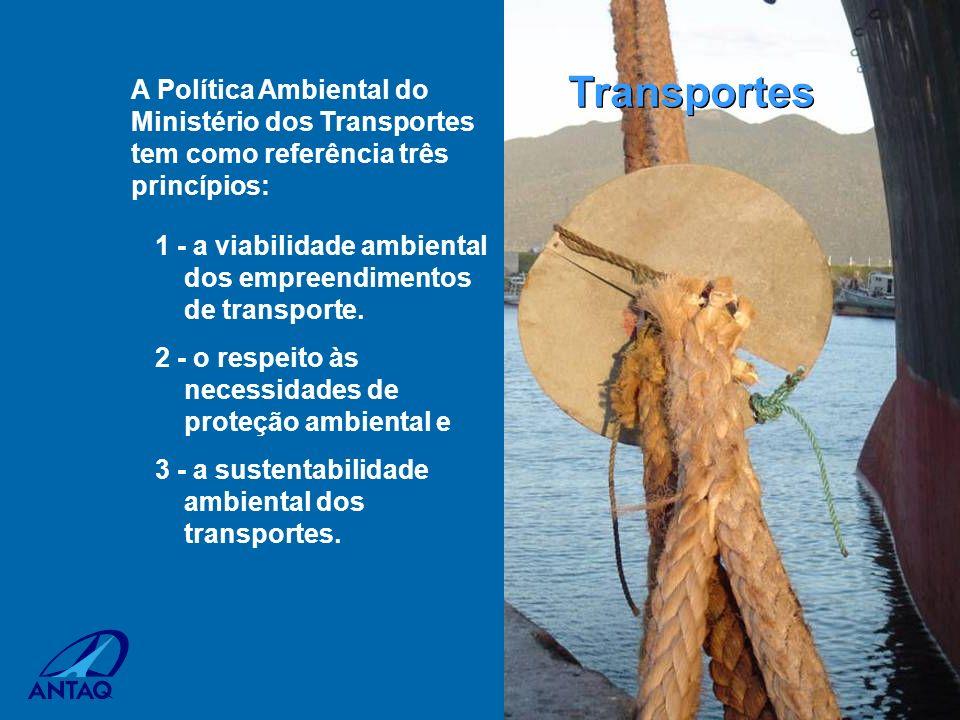 Transportes A Política Ambiental do Ministério dos Transportes tem como referência três princípios: