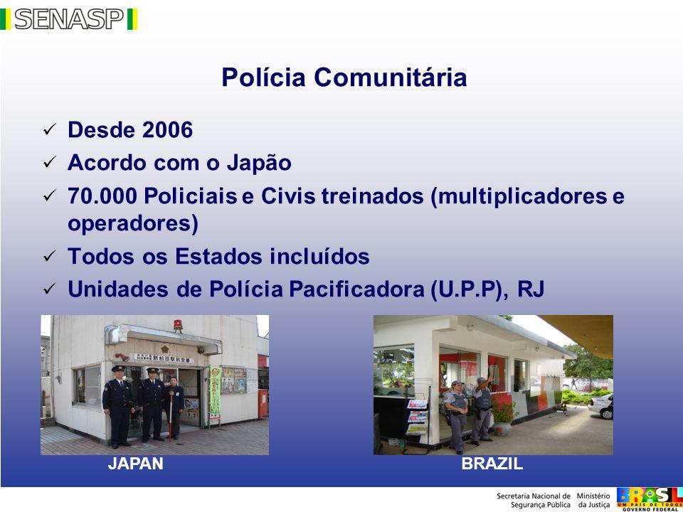 70.000 Policiais e Civis treinados (multiplicadores e operadores)