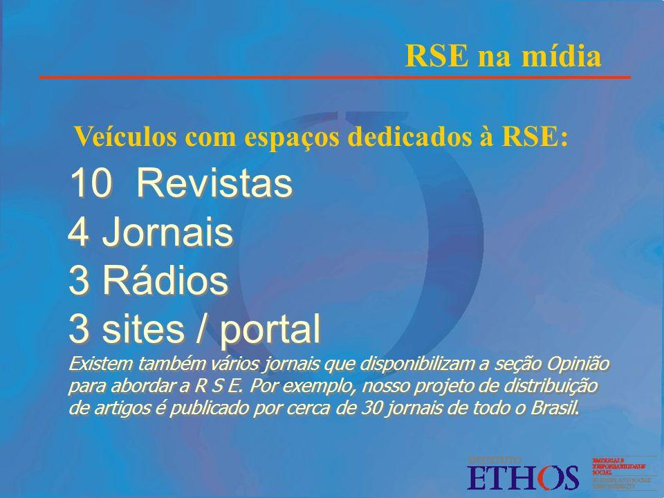 RSE na mídia Veículos com espaços dedicados à RSE: