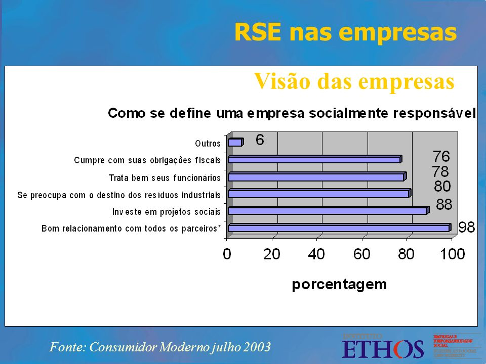 RSE nas empresas Visão das empresas