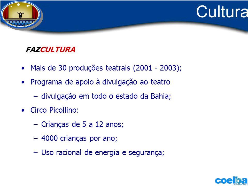 Cultura FAZCULTURA Mais de 30 produções teatrais (2001 - 2003);
