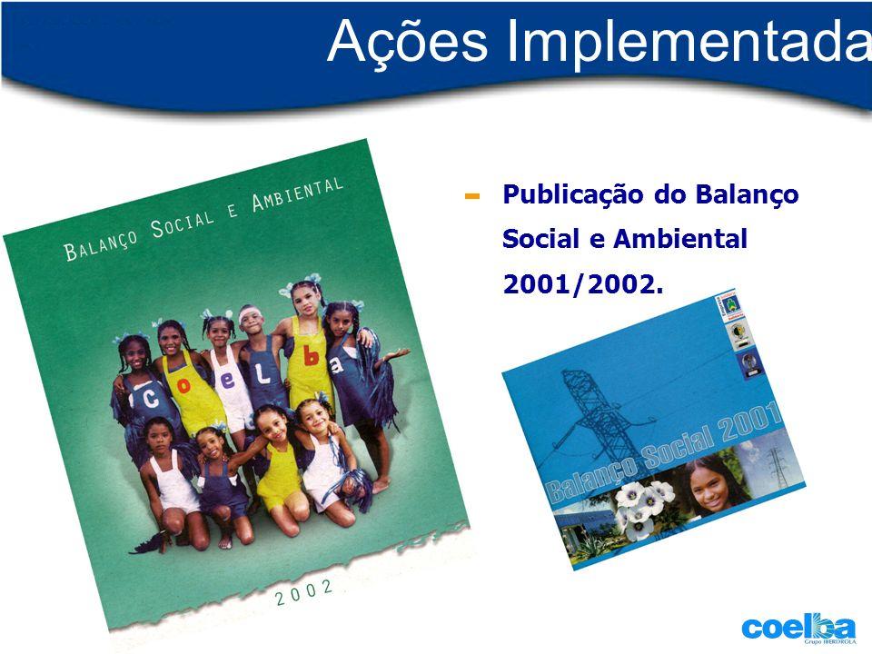 Ações Implementadas Publicação do Balanço Social e Ambiental