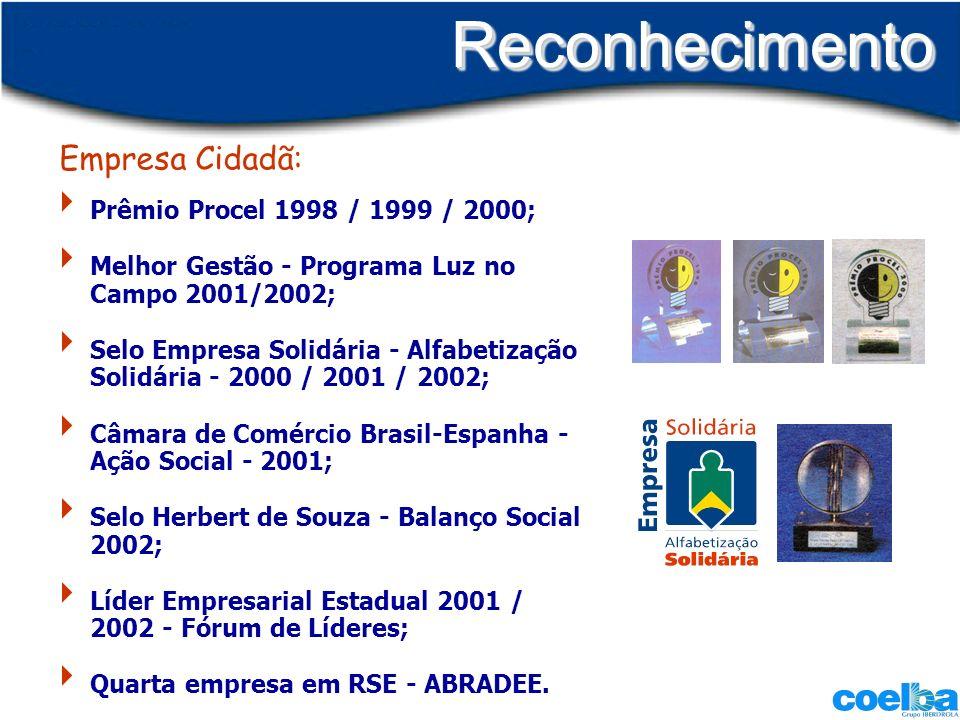 Reconhecimento Empresa Cidadã: Prêmio Procel 1998 / 1999 / 2000;