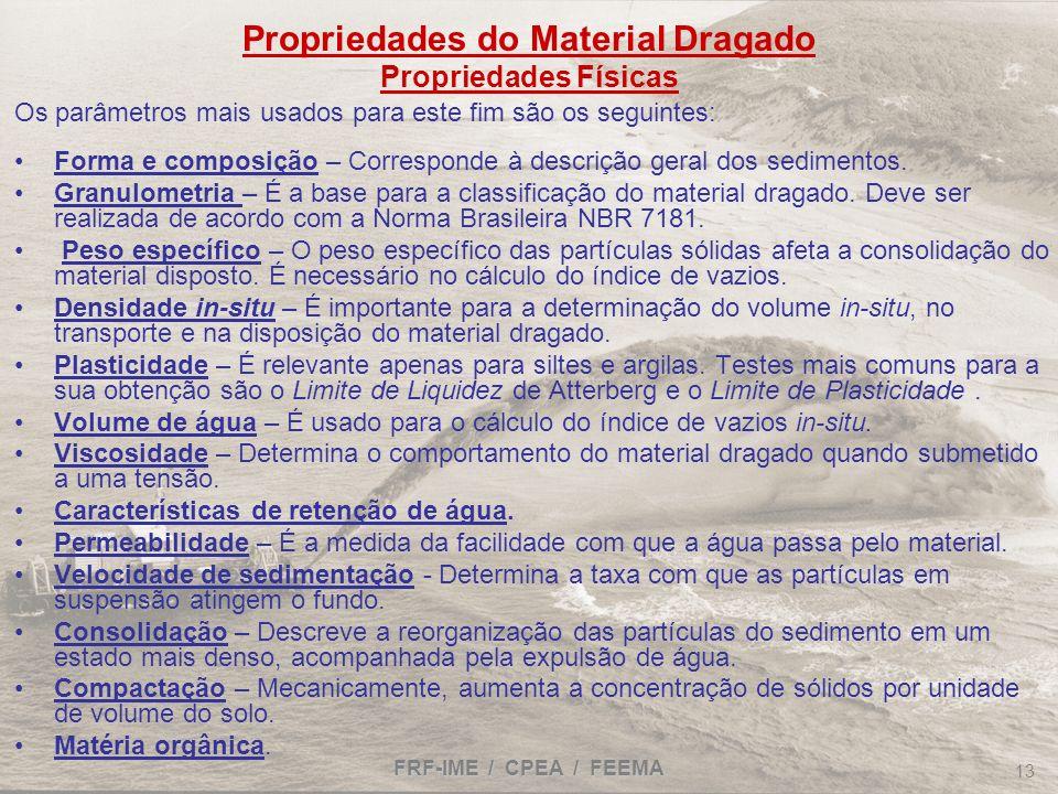 Propriedades do Material Dragado Propriedades Físicas