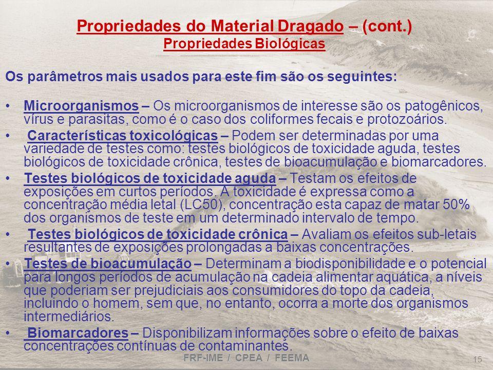 Propriedades do Material Dragado – (cont.) Propriedades Biológicas