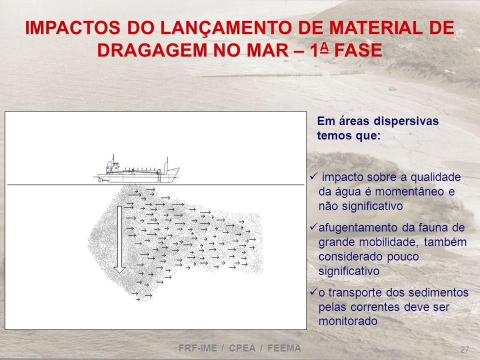 IMPACTOS DO LANÇAMENTO DE MATERIAL DE DRAGAGEM NO MAR – 1A FASE