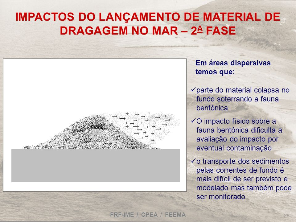 IMPACTOS DO LANÇAMENTO DE MATERIAL DE DRAGAGEM NO MAR – 2A FASE
