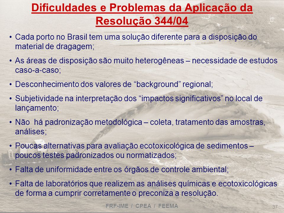 Dificuldades e Problemas da Aplicação da Resolução 344/04