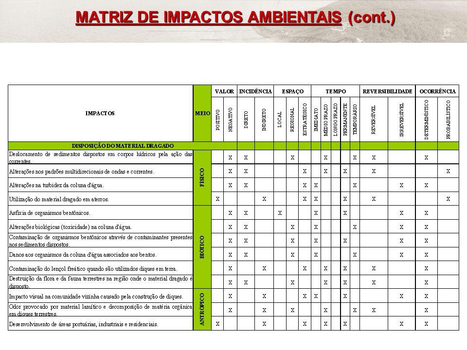 MATRIZ DE IMPACTOS AMBIENTAIS (cont.)