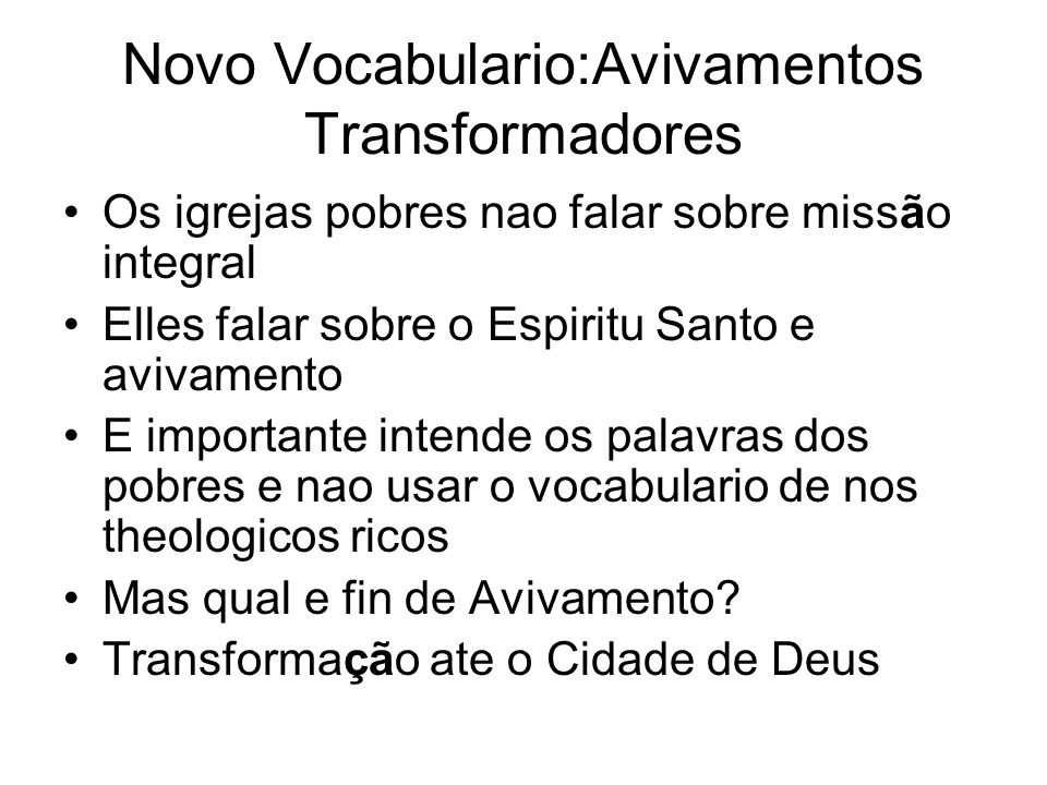 Novo Vocabulario:Avivamentos Transformadores