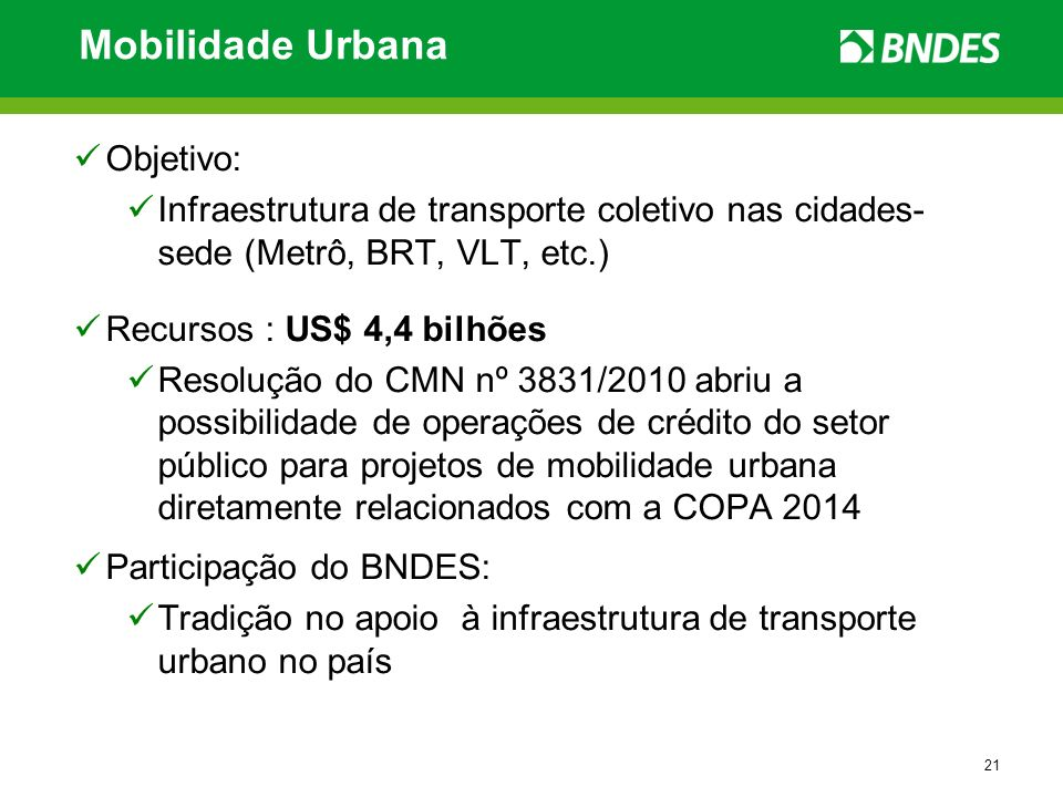 Mobilidade Urbana Objetivo: