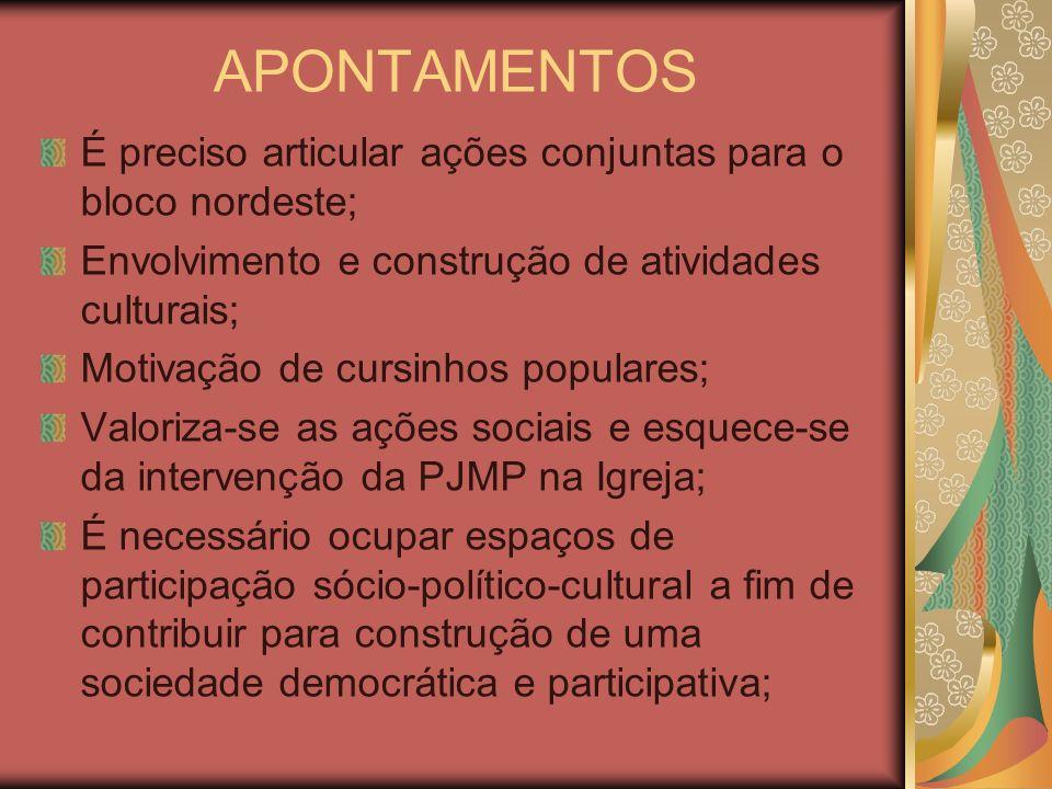 APONTAMENTOS É preciso articular ações conjuntas para o bloco nordeste; Envolvimento e construção de atividades culturais;