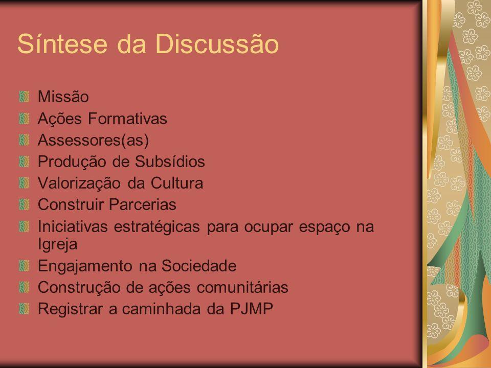 Síntese da Discussão Missão Ações Formativas Assessores(as)