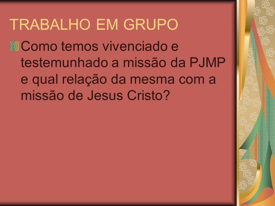 TRABALHO EM GRUPO Como temos vivenciado e testemunhado a missão da PJMP e qual relação da mesma com a missão de Jesus Cristo