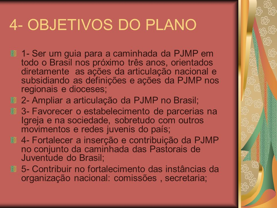 4- OBJETIVOS DO PLANO