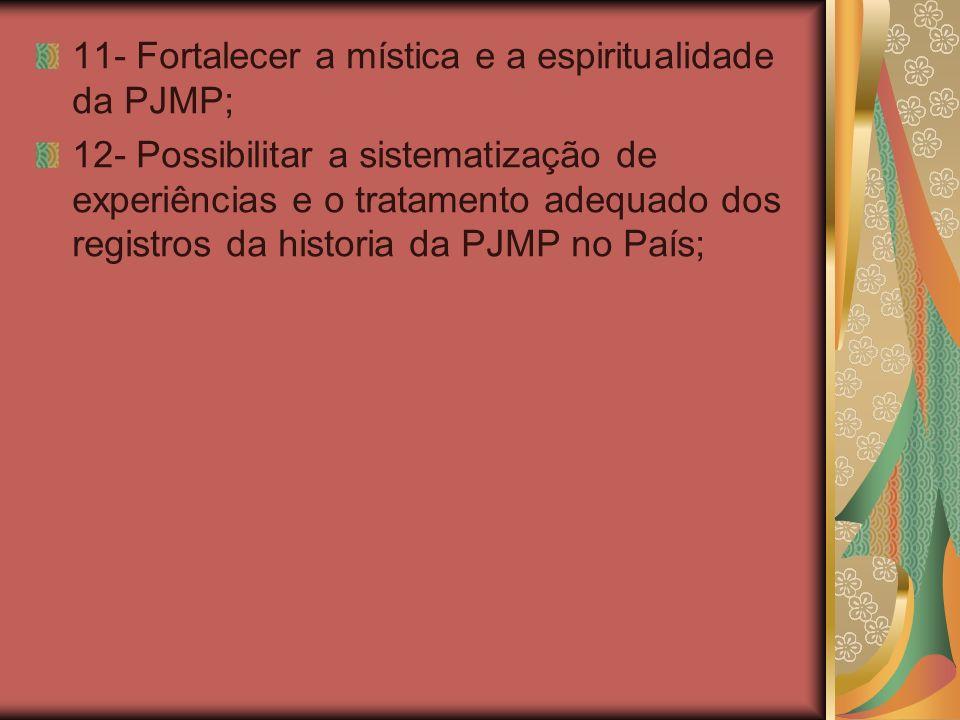 11- Fortalecer a mística e a espiritualidade da PJMP;