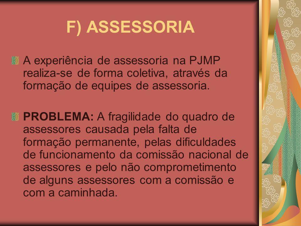 F) ASSESSORIA A experiência de assessoria na PJMP realiza-se de forma coletiva, através da formação de equipes de assessoria.
