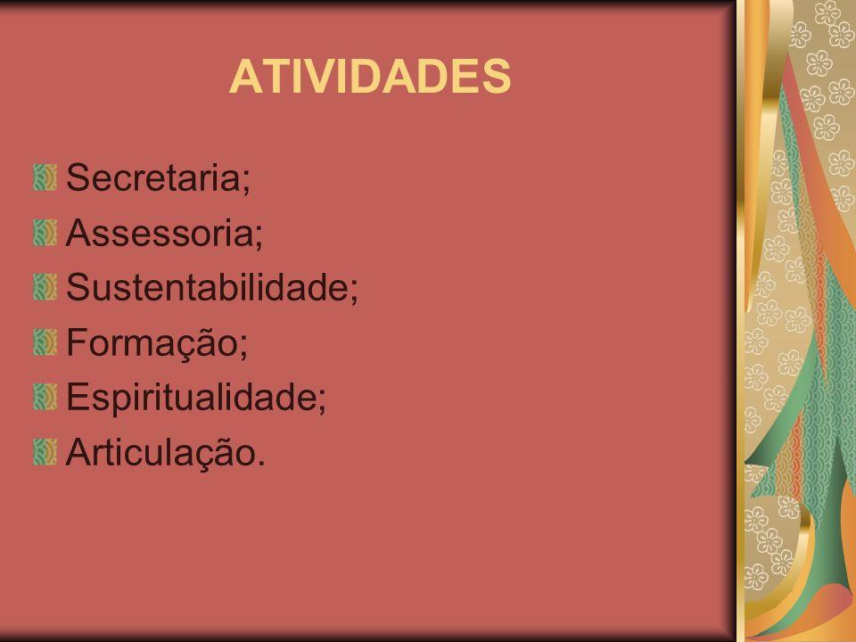 ATIVIDADES Secretaria; Assessoria; Sustentabilidade; Formação;