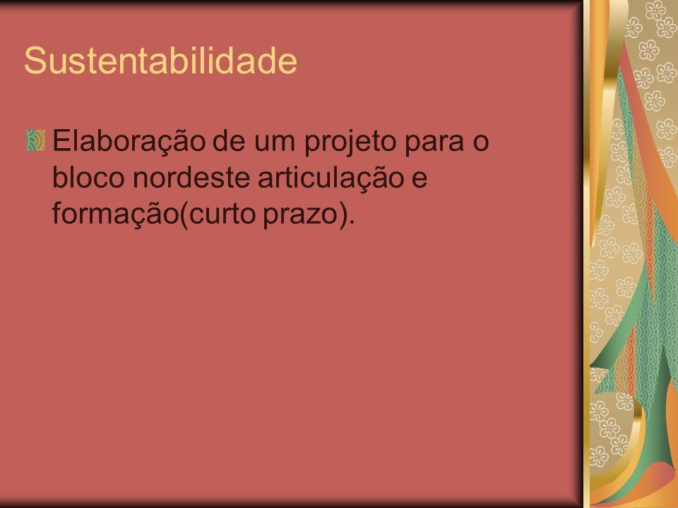SustentabilidadeElaboração de um projeto para o bloco nordeste articulação e formação(curto prazo).