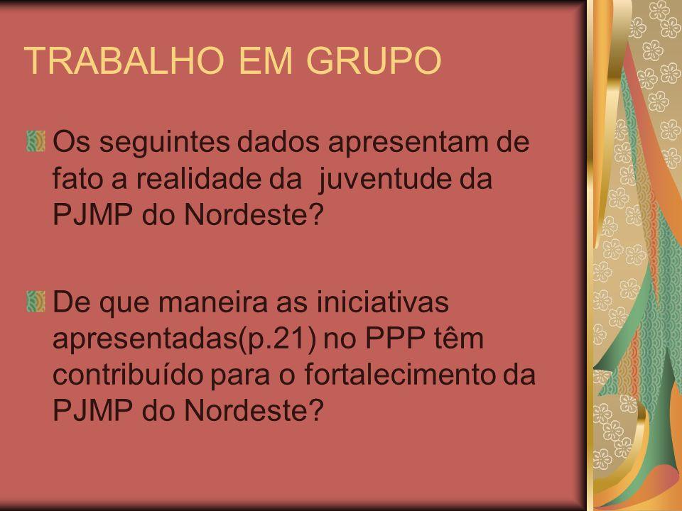 TRABALHO EM GRUPO Os seguintes dados apresentam de fato a realidade da juventude da PJMP do Nordeste