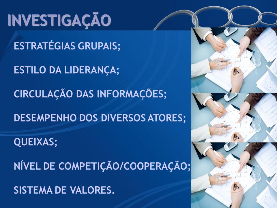 INVESTIGAÇÃO ESTRATÉGIAS GRUPAIS; ESTILO DA LIDERANÇA;