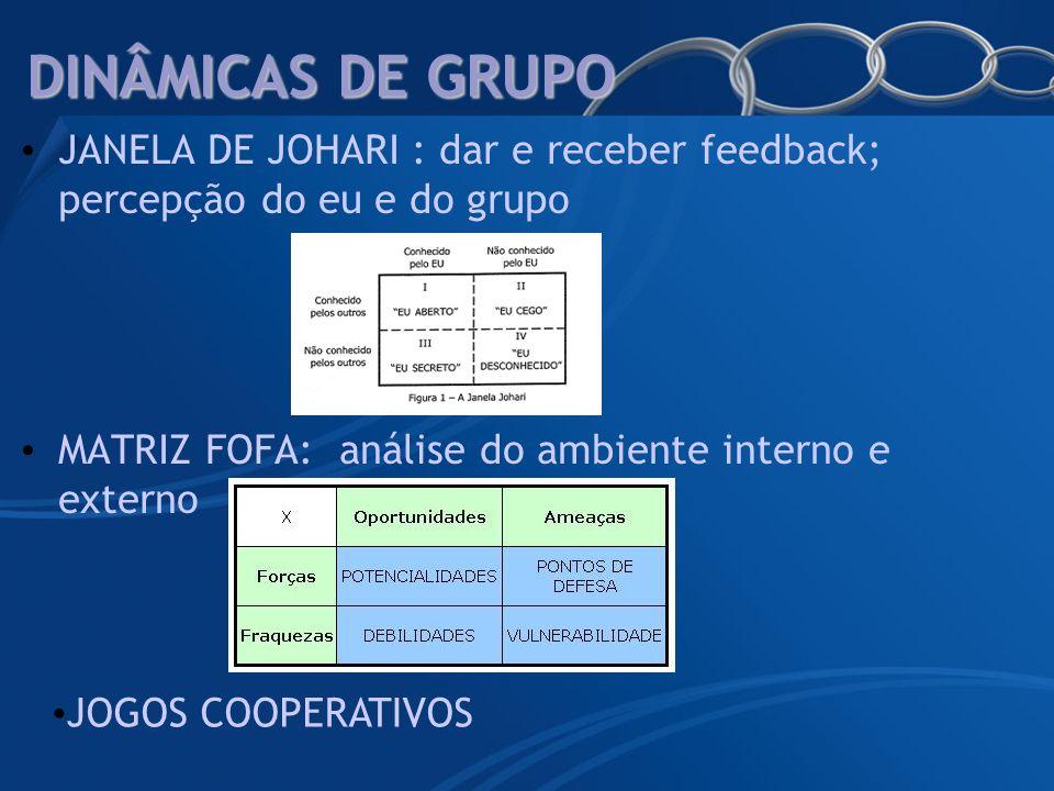 DINÂMICAS DE GRUPO JANELA DE JOHARI : dar e receber feedback; percepção do eu e do grupo. MATRIZ FOFA: análise do ambiente interno e externo.