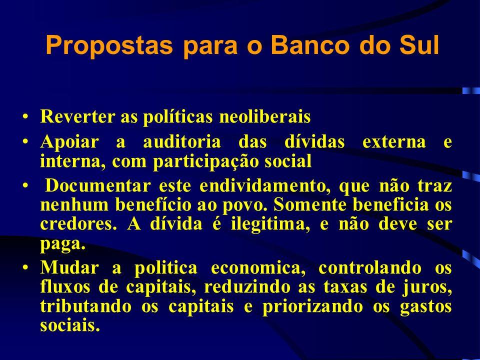Propostas para o Banco do Sul