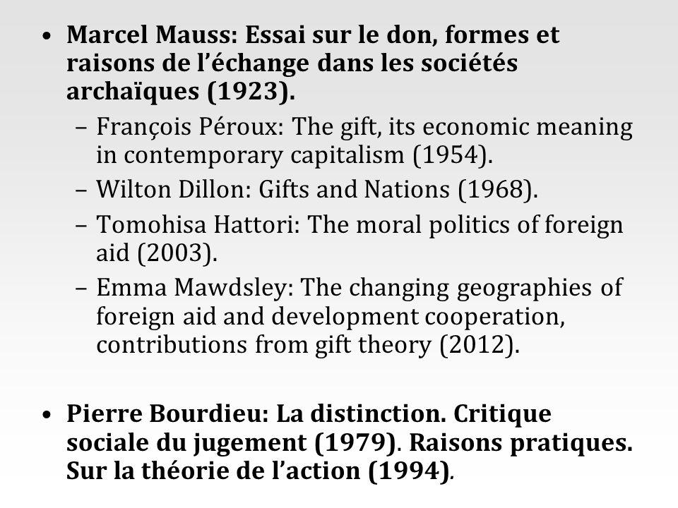 Marcel Mauss: Essai sur le don, formes et raisons de l'échange dans les sociétés archaïques (1923).