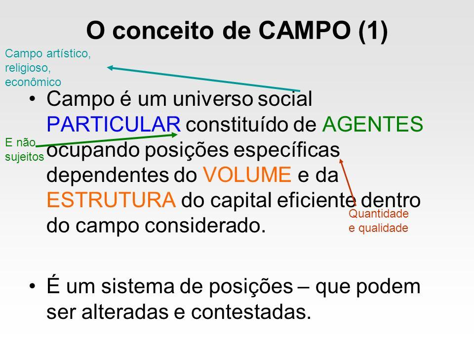 O conceito de CAMPO (1) Campo artístico, religioso, econômico.