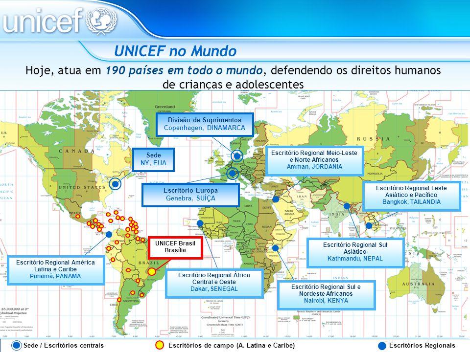 UNICEF no MundoHoje, atua em 190 países em todo o mundo, defendendo os direitos humanos de crianças e adolescentes.