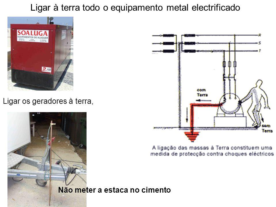 Ligar à terra todo o equipamento metal electrificado