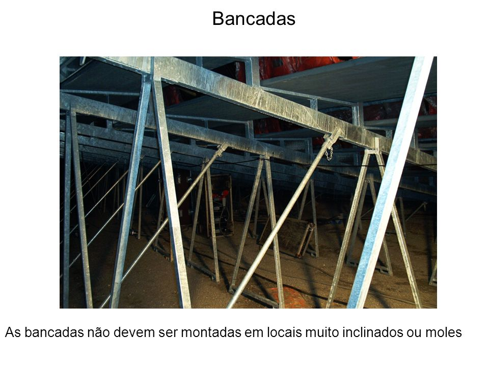 Bancadas As bancadas não devem ser montadas em locais muito inclinados ou moles