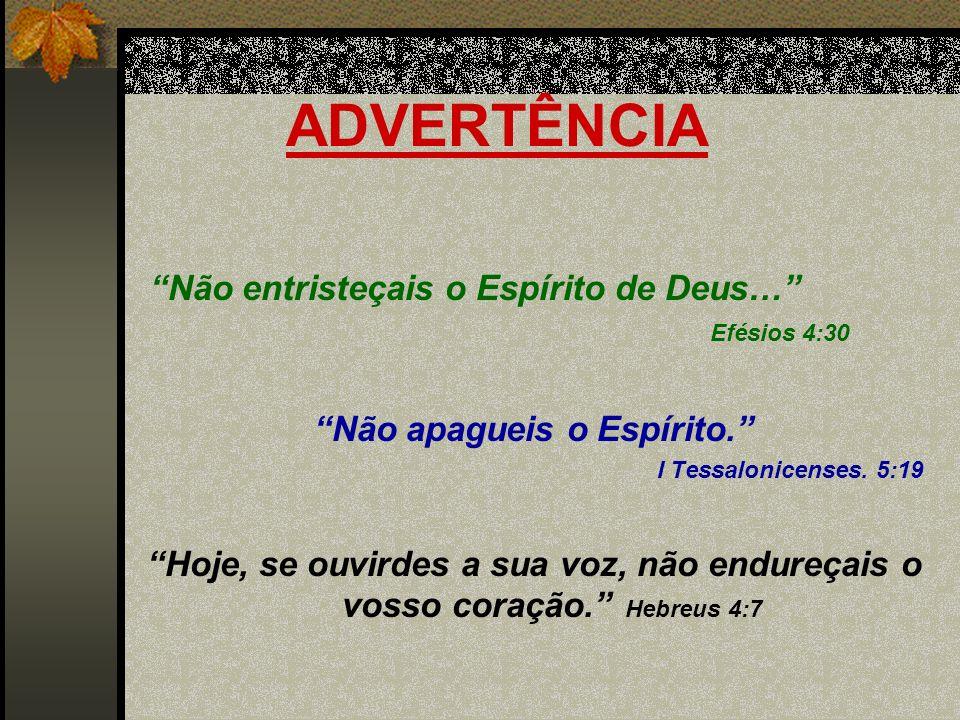 ADVERTÊNCIA Não entristeçais o Espírito de Deus… Efésios 4:30