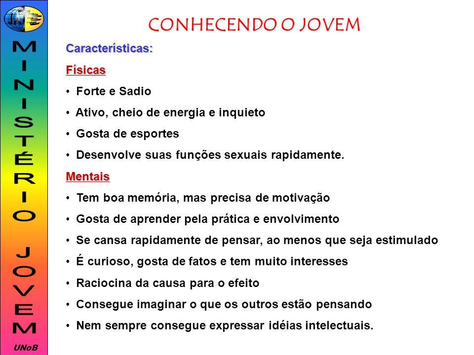 MINISTÉRIO JOVEM CONHECENDO O JOVEM Características: Físicas
