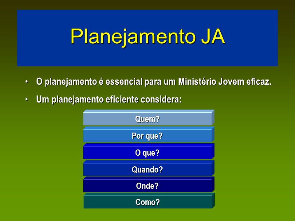 Planejamento JA O planejamento é essencial para um Ministério Jovem eficaz. Um planejamento eficiente considera: