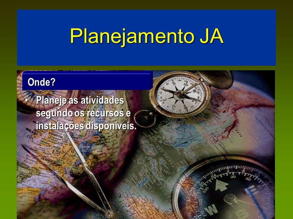 Planejamento JA Onde Planeje as atividades segundo os recursos e instalações disponíveis.