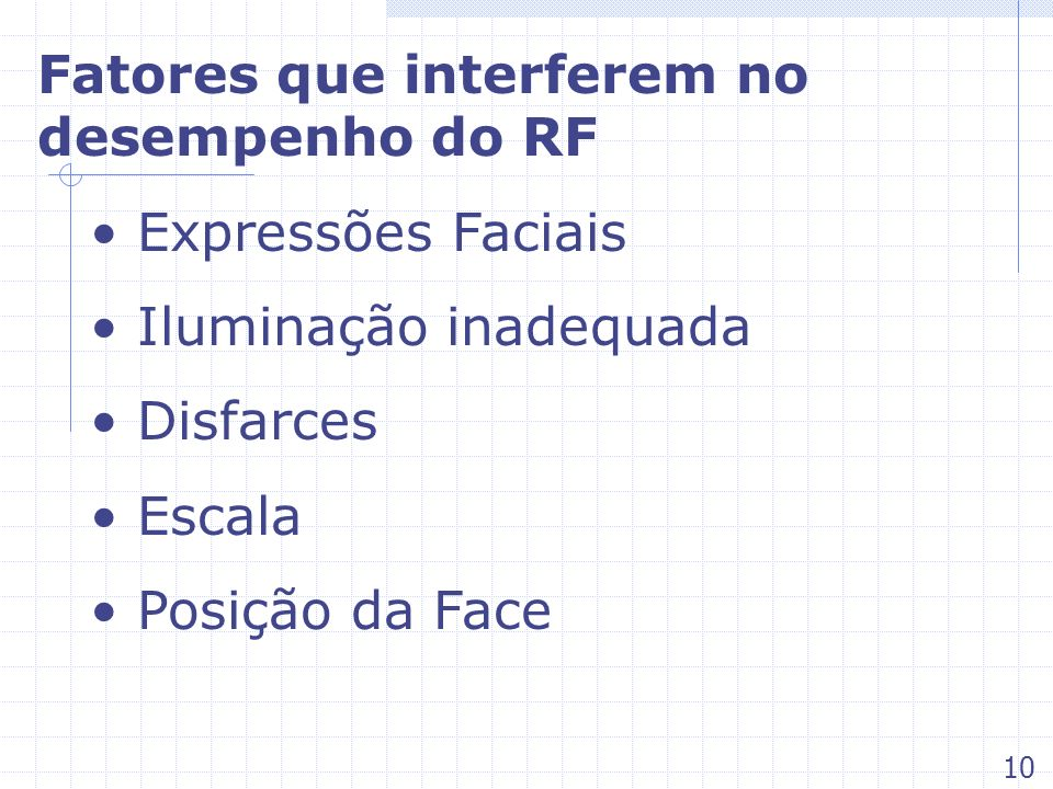 Fatores que interferem no desempenho do RF Expressões Faciais