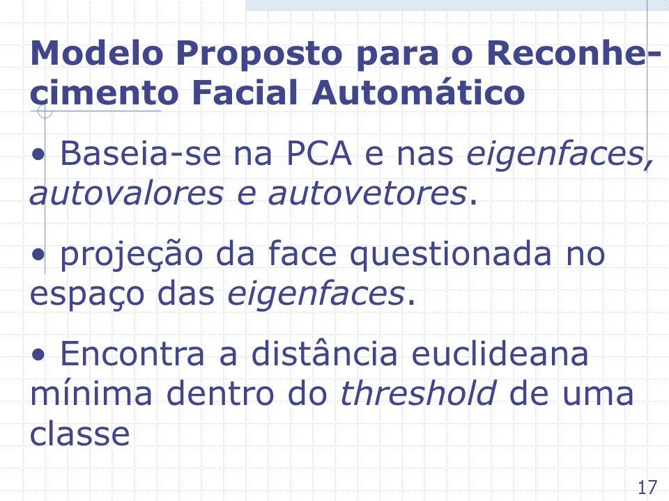 Modelo Proposto para o Reconhe- cimento Facial Automático