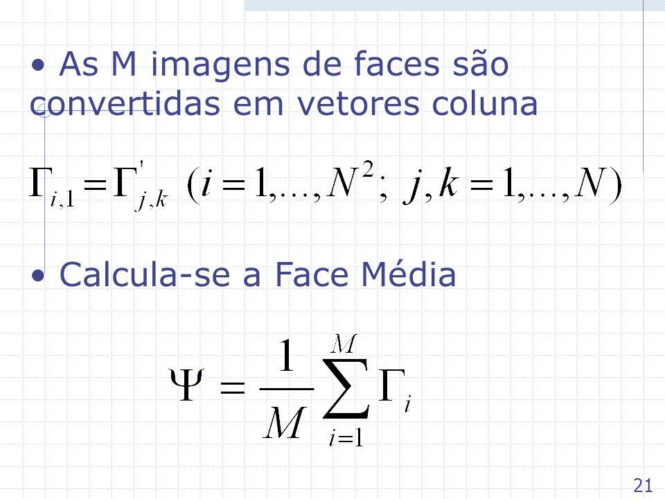 As M imagens de faces são convertidas em vetores coluna