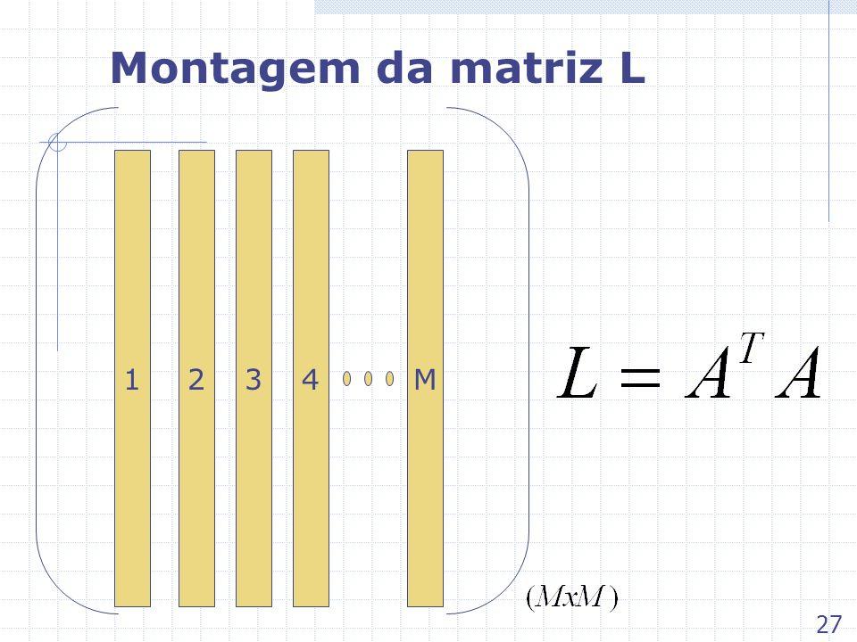 Montagem da matriz L 1 2 3 4 M 27