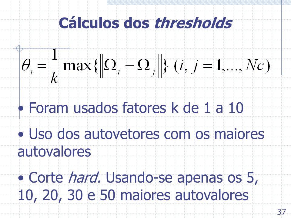 Cálculos dos thresholds