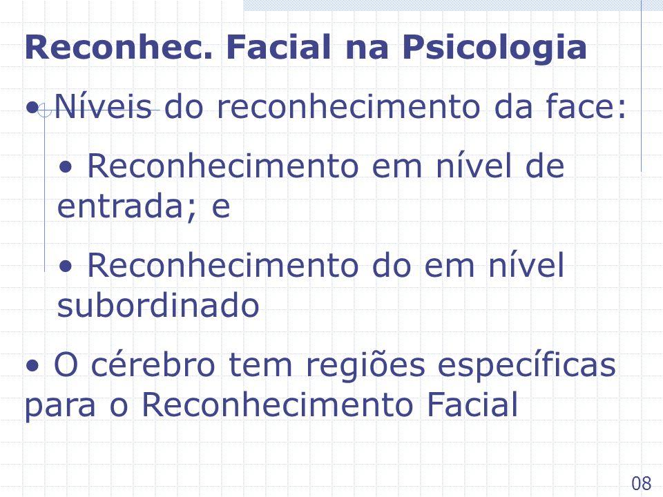 Reconhec. Facial na Psicologia Níveis do reconhecimento da face: