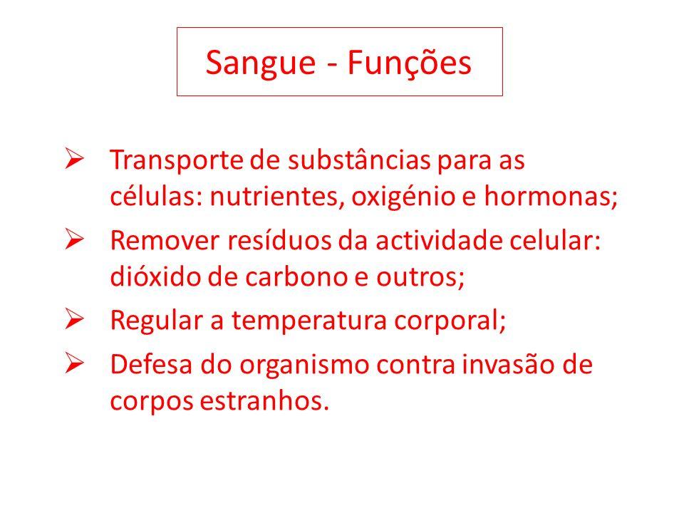 Sangue - Funções Transporte de substâncias para as células: nutrientes, oxigénio e hormonas;