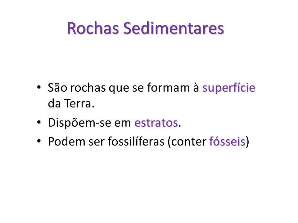 Rochas Sedimentares São rochas que se formam à superfície da Terra.