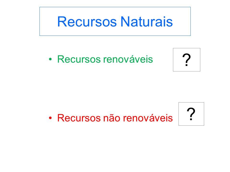 Recursos Naturais Recursos renováveis Recursos não renováveis