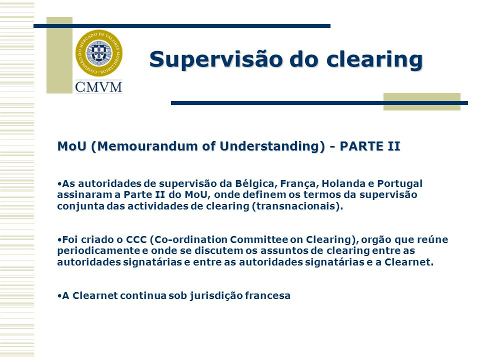 Supervisão do clearing
