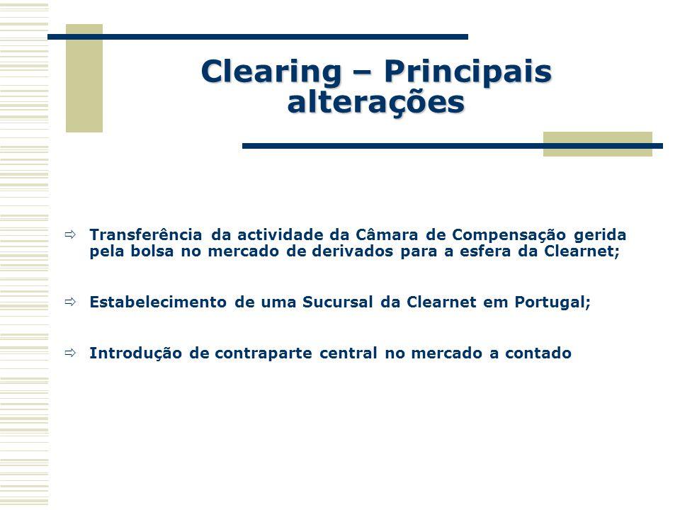Clearing – Principais alterações