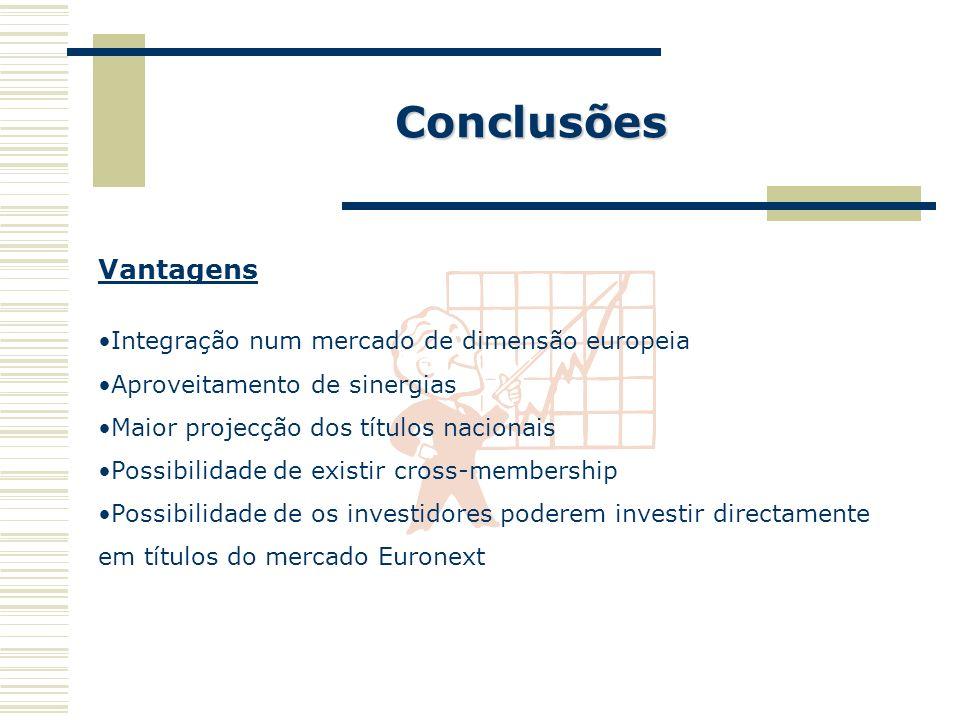 Conclusões Vantagens Integração num mercado de dimensão europeia